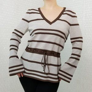 St. John Sport striped knit bell sleeve top